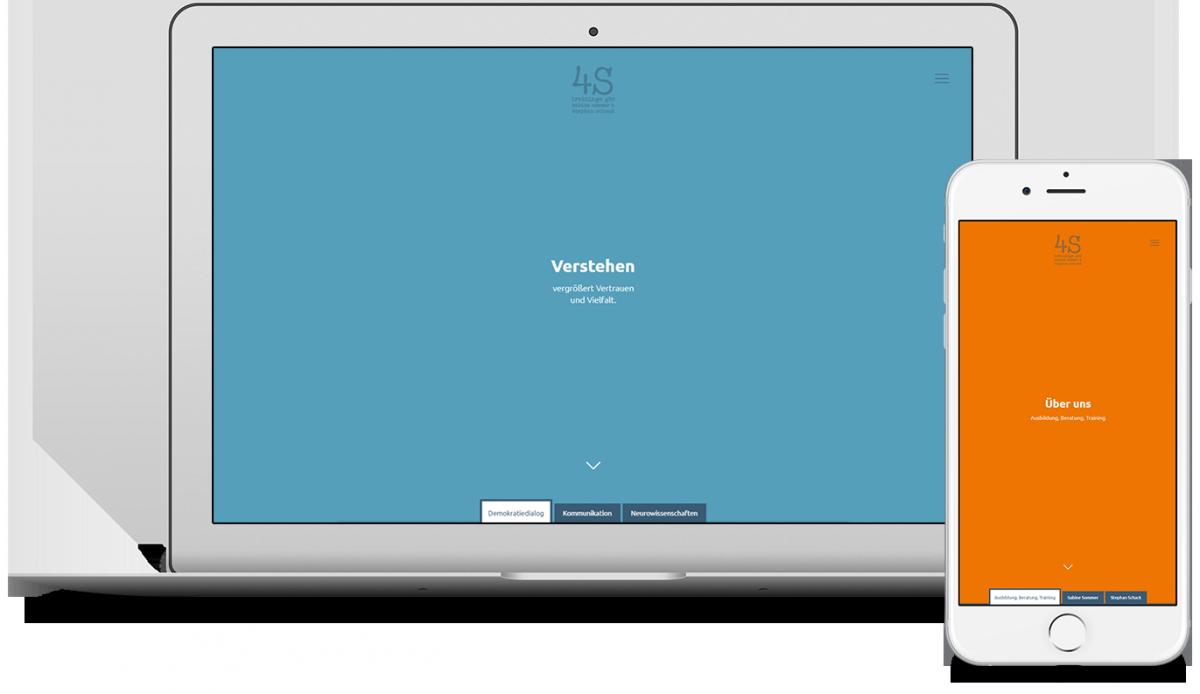 Screenshots der 4s trainingswebsite in einem Laptop und einem Smartphone